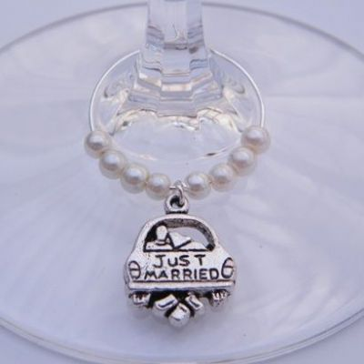 Just Married Wine Glass Charm - Beaded Style
